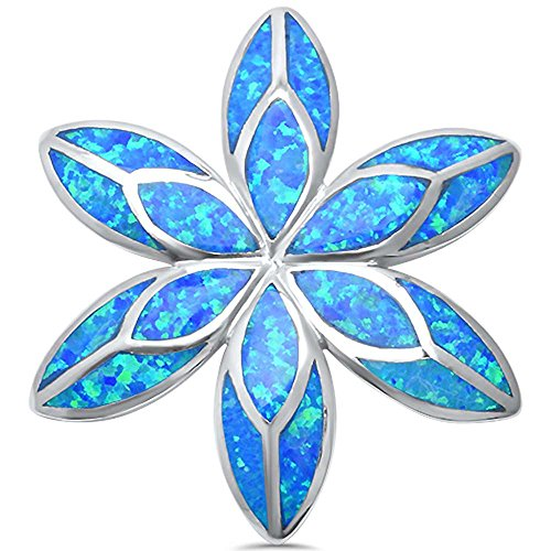 Oxford Diamond Co Sterling Silver Lab Created Opal Flower Shape Slide Pendant (Lab Created Blue Opal)