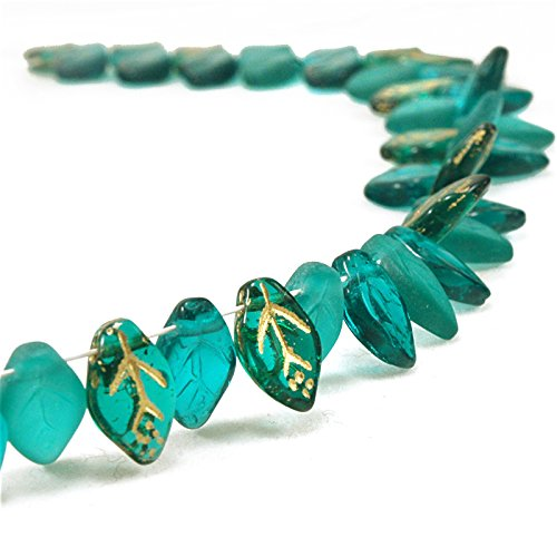 Mix of Czech Glass Leaf Beads - Emerald, 50 pcs, 12mm