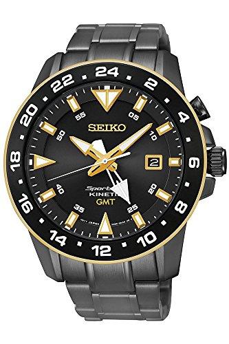Seiko SUN026P1 Men's Kinetic Gmt,Stainless Steel Case & Bracelet,100m WR SUN026