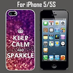 Keep Calm Sparkle Custom Case/ Cover/Skin *NEW* Case for Apple iPhone 5/5S - White - Rubber Case (Ships from CA) Custom Protective Case , Design Case-ATT Verizon T-mobile Sprint ,Friendly Packaging - Slim Case