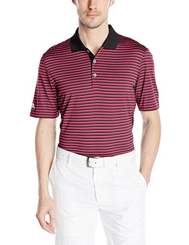 [adidas Golf Men's 3-Color Stripe Polo Shirt, Black/Unity Pink F, Large] (Pink Stripe Shirt)