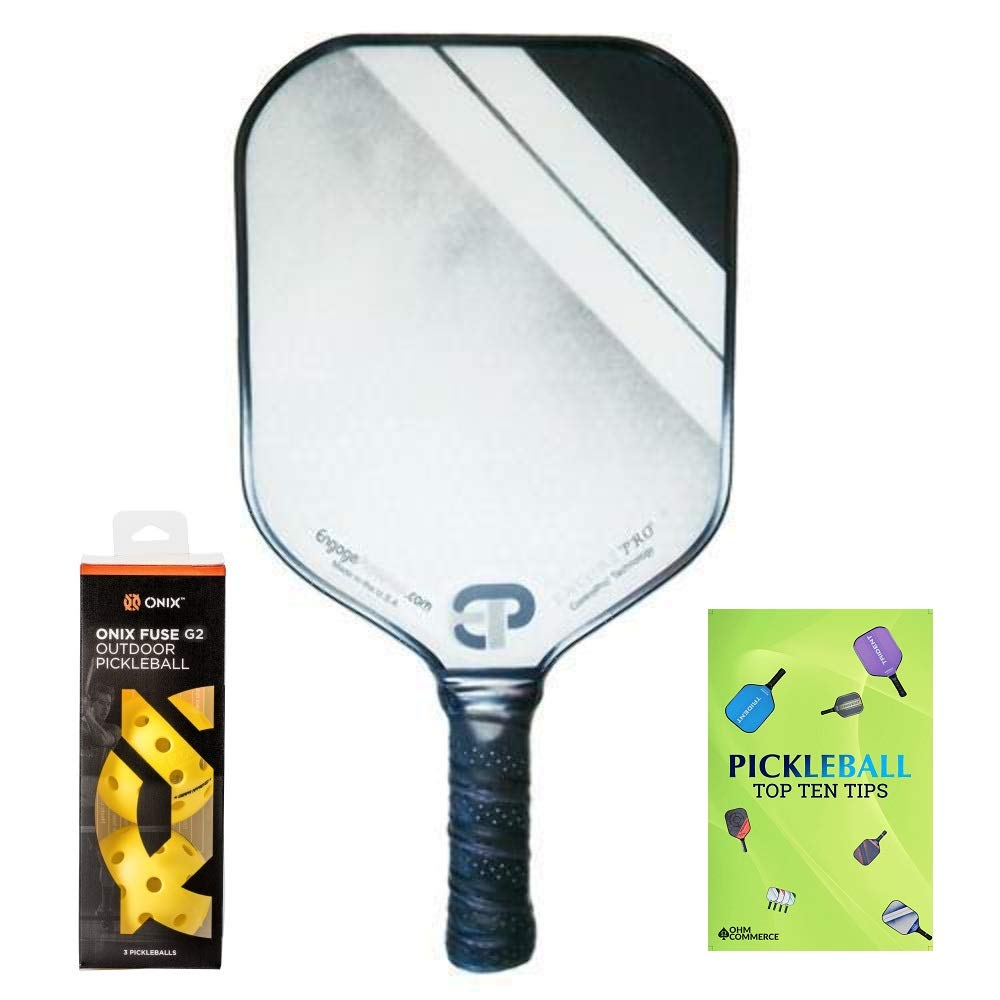 Racket and Balls for Beginner and Pro Players Engage Encore Pro Pickleball Paddle /& Onix 3-Pack Fuse G2 Pickleball Balls /& Free Pickle Ball Tips Sheet Premier Pickleball Set