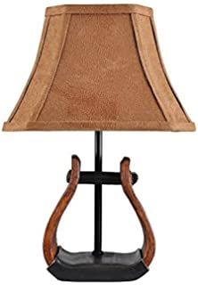 Resin table lamps western saddle table lamp wcowboy print shade 12 ahs lighting l1707 up3 stirrup accent lamp aloadofball Images