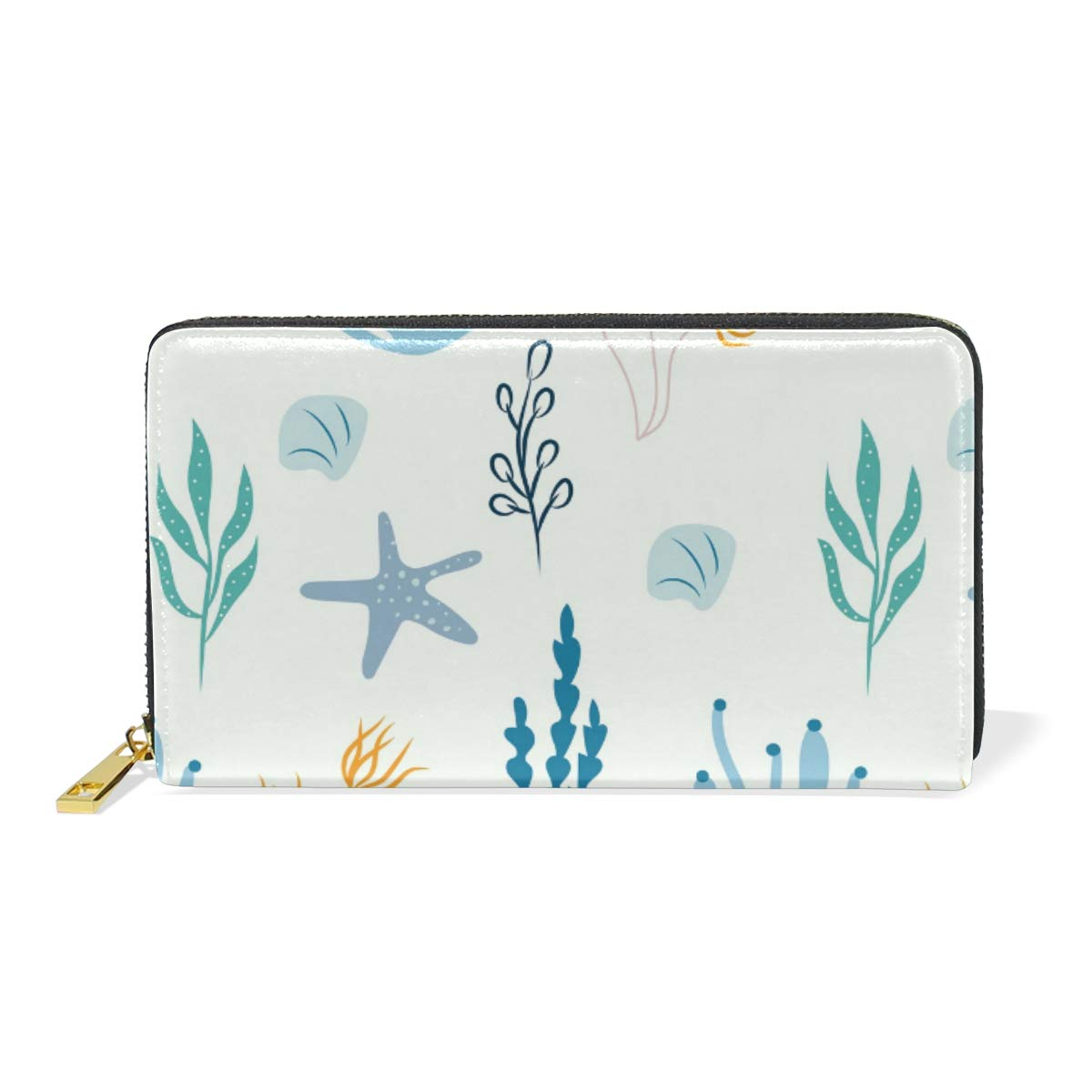 Women Wallet Female Coin Purse Phone Clutch Pouch Girl Cash Bag Leather Card Change Holder Organizer Storage Key Hold Elegant Handbag For Party Birthday Gift Coral Sea Animals