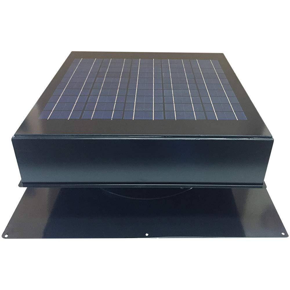 Remington Solar Attic Fan, Solar 20 Watt Solar-Powered, Roof Mounted with Bonus Thermostat and Humidistat Pre-Installed, Quiet Brushless 24V DC Motor Easy Installation Exhaust Fan, in Grey