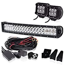Curved 20 22 INCH LED Light Bar 12000LM 6000K Waterproof IP67 W/ 2PCS Fog Lights + 3LEAD Remote Switch Wiring Harness Kit for Offroad Chevrolet GMC Dodge Ram Ford F150 Jeep Toyota Truck SUV ATV UTV