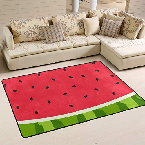 XiangHeFu Personalized Area Rugs Fruit Watermelon Slice Red Green 3'x2' (36x24 Inches) Floor Doormats Mat Soft for Living Room Bedroom Home Kitchen Decorative (Watermelon Rug Slice)