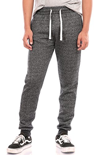Pro Cube Men's Joggers Sweatpants Basic Fleece Marled Jogger Pant Elastic Waist (Large, Marled Black)