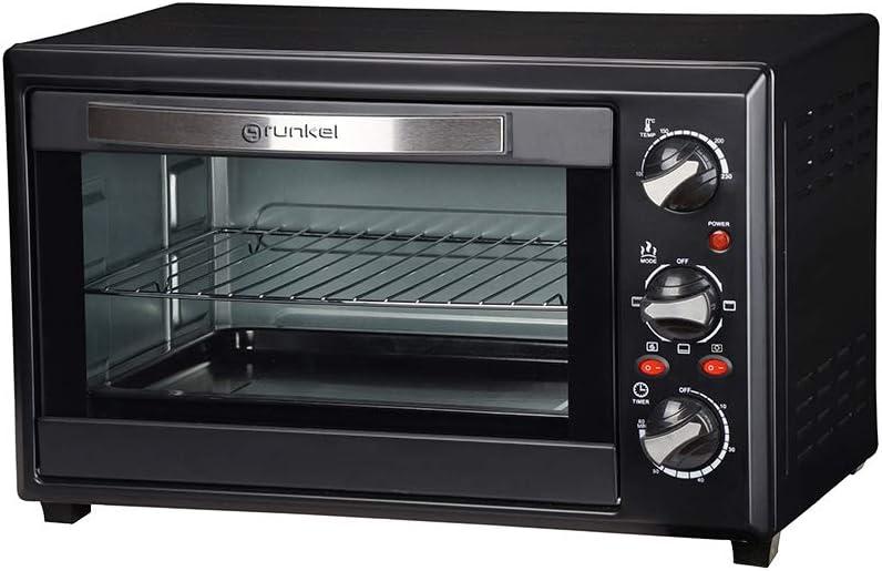 Grunkel - Horno eléctrico de sobremesa con 28 litros de capacidad. Resistencia en M. Tres funciones de calor. Perfecto para hornear pan y pizza (Negro)