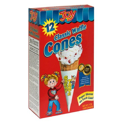 Joy Classic Waffle Cones, Jacketed, 12-Count Boxes of Cones (Pack of 12) by Joy Cone (Image #1)