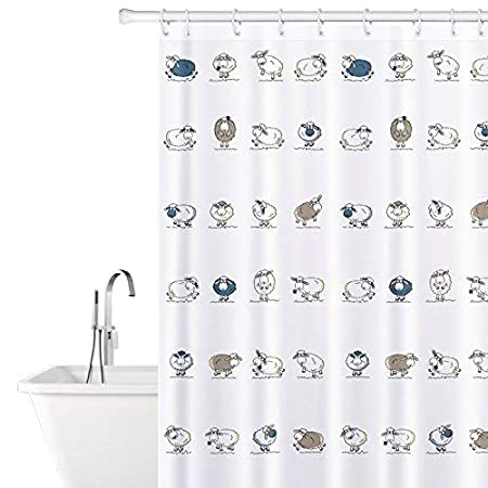 Tatkraft Funny Sheep Fabric Shower Curtain With 12 Rings 100 Waterproof 180X180 Cm Amazoncouk Kitchen Home