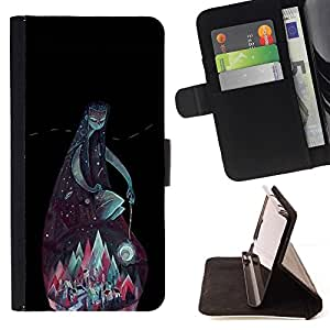 Momo Phone Case / Flip Funda de Cuero Case Cover - Montañas del trullo Dios Noche Negro Verde - LG G2 D800