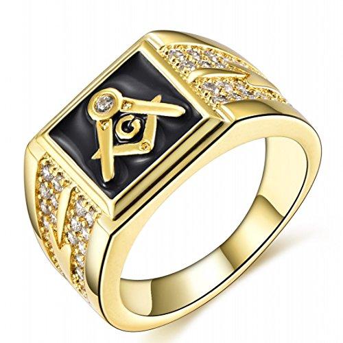 Ring Gold Plate - Songdetao 18K Gold Plate Men's Masonic Black Lodge Mason Crystal Freemason Rings Sz 11