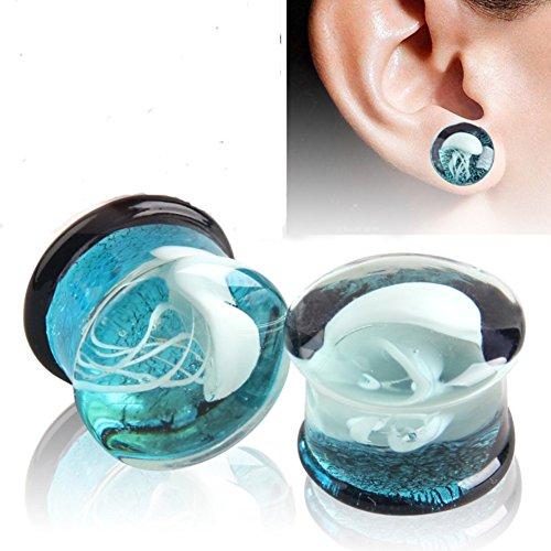 YHMM Glass Ocean Jellyfish Ear Gauges Ear Plugs Expander Tunnels Ear Piercing Jewelry 00g-5/8 (B1=00g(10mm))