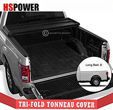 Amazon Com Hs Power 2017 2019 For Ford F250 F350 Sd 8 Ft Bed Lightweight Black Hard Tri Fold Tonneau Cover Automotive