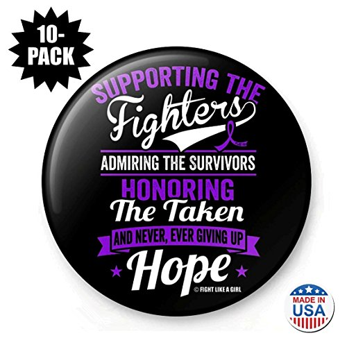 Fight Like a Girl Supporting Admiring Honoring Round Buttons/Pins/Badges for Pancreatic Cancer Leiomyosarcoma Cystic Fibrosis Lupus, 10-Pack (Purple Ribbon)