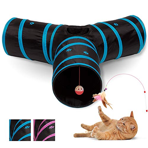 All Prime Cat Tunnel - Also Included is a Free ($5 Value) Interactive Cat Toy - Toys for Cats - Cat Tunnels for Indoor Cats - Cat Tube - Collapsible 3 Way Pet Tunnel - Great Toy for Cats & Rabb