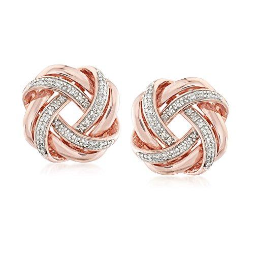 Ross-Simons 0.20 ct. t.w. Diamond Love Knot Earrings in 18kt Rose Gold Over Sterling