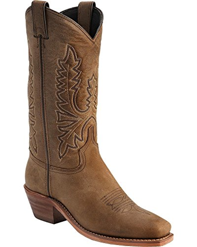 Abilene Women's Oiled Cowhide Cowgirl Boot Square Toe Olive 7.5 M US