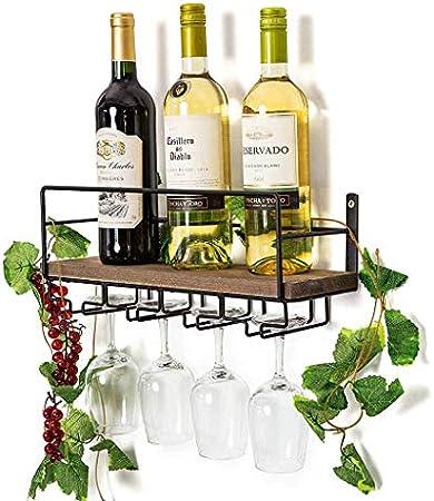 ZYLZL Botellero, Bar, Restaurante, Estante para Copas de Vino, Madera Rústica para Colgar en la Pared para el Hogar con Soporte para Vasos de 4 Tallos | Decoración de Pared para el Hogar | Bandeja de