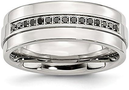 Ice Carats Ice Carats Stainless Steel Black Diamonds 8mm Wedding