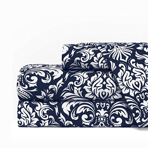 Egyptian Luxury 1600 Series Hotel Collection Damask Pattern Bed Sheet Set - Deep Pockets, Wrinkle and Fade Resistant, Hypoallergenic Sheet and Pillowcase Set - King - Navy/White