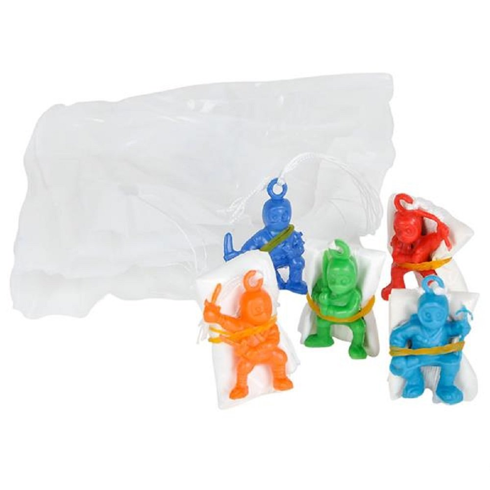 1.3 Inch ~ Assorted Colors and Poses ~ New ~ 12 ~ Ninja Warrior Paratroopers Parachutists ~ Apprrox