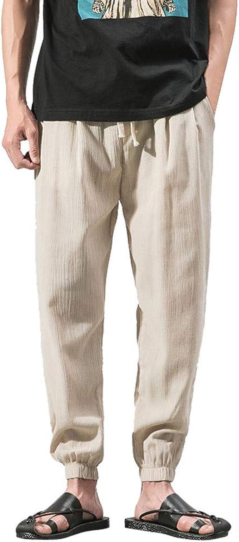 Pantalones de Lino y algodón para Hombre, Cintura elástica sólida ...