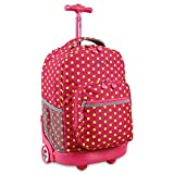 Girls Hot Pink Yellow Polka Dots Pattern Rolling Backpack, Beautiful Dotted Sprinkle Themes Suitcase, Friendly Fun Pattern School Bag, Duffel with Wheels, Wheeling Luggage, Lightweight, Fashionable