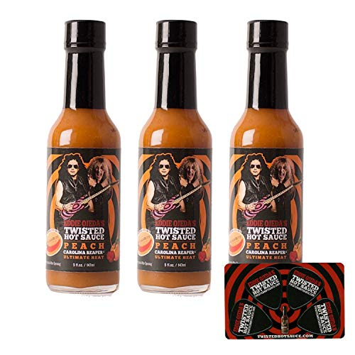 Twisted Hot Sauce Carolina Reaper - Peach 3 / 5 OZ Extreme Heat From Eddie Ojeda Twisted Sister Lead Guitarist - Dee Snider / Ojeda Signature Bulls Eye Guitar Label w/ Free Guitar Pick Card (Pch 3)
