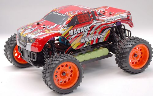 Rtr Esc Electric Rc Truck (1/16 2.4Ghz Exceed RC Magnet EP Electric RTR Off Road Truck Stripe Red)