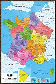 Map of France – Framed Carte De France – Poster Print Republique Francaise – French Language Map Size 24 inches x 36 inches
