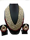 VVS Jewellers Exclusive Bollywood Style Red Pearls Gold Plated Shining Kundan Wedding Bridal Necklace Set