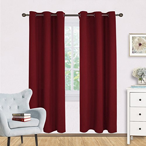NICETOWN Bedroom Curtain Panels Blackout Draperies, Home Decorations on Christmas Thermal Insulated Solid Grommet Top Blackout Curtains/Drapes for Thanksgiving Gift (1 Pair,42 x 72 inches,Red)