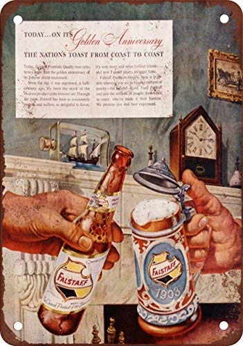 1953 Falstaff Beer 50th Anniversary Vintage Look Reproduction Aluminum Metal Sign Heavy Duty Funny Decoration Tin Signs