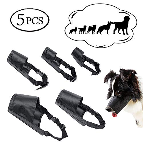 Adjustable Muzzle - ewinever 5Pcs/Set Adjustable Breathable Safety Small Medium Large Extra Dog Muzzles for Anti-Biting Anti-Barking Anti-Chewing Safety Protection(Black)