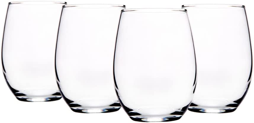 Home Essentials Red Series 15 ounce Stemless Wine Glass set of 4
