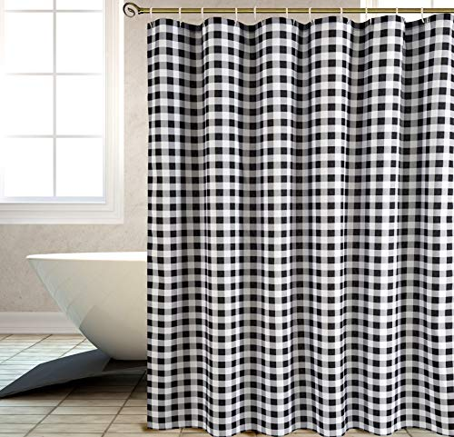 Biscaynebay Textured Fabric Shower Curtains, Printed Checkered Bathroom Curtains, Black and Grey 72 by 72 Inches - Printed polyester fabric is special woven, textured with slubs. Lights can get through partly, providing romantic atmosphere. 100% superior quality and Eco-friendly polyester, long life use. Suitable for families and upscale hotels. Made of 125gsm durable premium polyester fabric. - shower-curtains, bathroom-linens, bathroom - 51wv9ebkaaL -