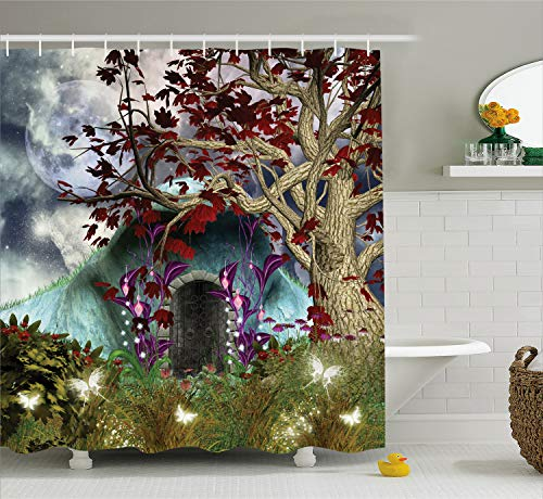 Ambesonne Living Room Shower Curtain, Mystical Magical Tree Anime Moon Digital Art Wood Door in Forest Print, Cloth Fabric Bathroom Decor Set with Hooks, 70 Inches Long, Red Blue