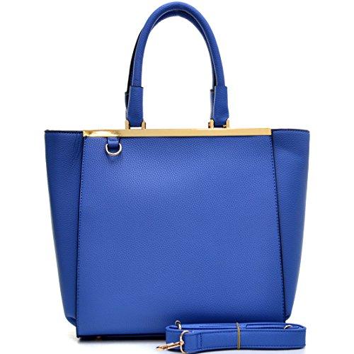 Dasein Classic Designer Faux Leather Satchel Handbag Tote Shouder Bag, Tablet, iPad Bag with Shoulder Strap (2733 Buffalo Blue NEW)