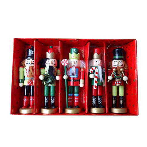 BlueSpace Christmas Nutcracker Ornaments Set Wooden Nutcrackers Hanging Decorations for Christmas Tree Figures Puppet Toy Gifts(5'',Set of 5pcs) from BlueSpace