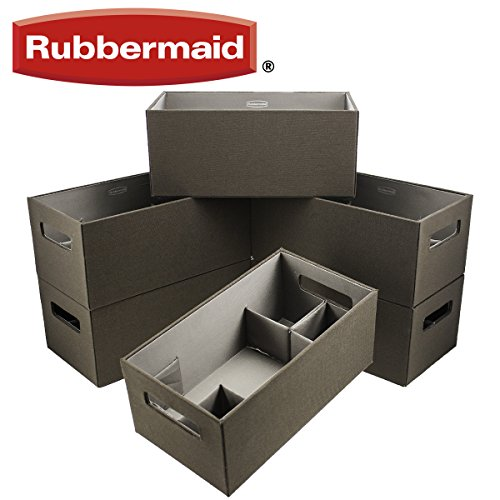 Rubbermaid 6 pack Medium Brown Bento Storage Boxes Flex Dividers Espresso Organize Bins (Rubbermaid Stackable Baskets)