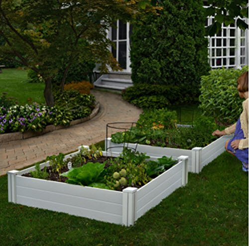 amazoncom white vinyl raised garden bed 2 pack garden outdoor - Garden Bed