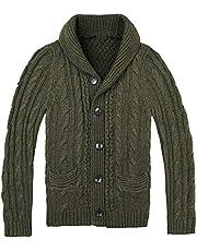 Heren dikke sjaalkraag vest trui Heren dichtgeknoopte gebreide trui Vintage gebreide uitloper
