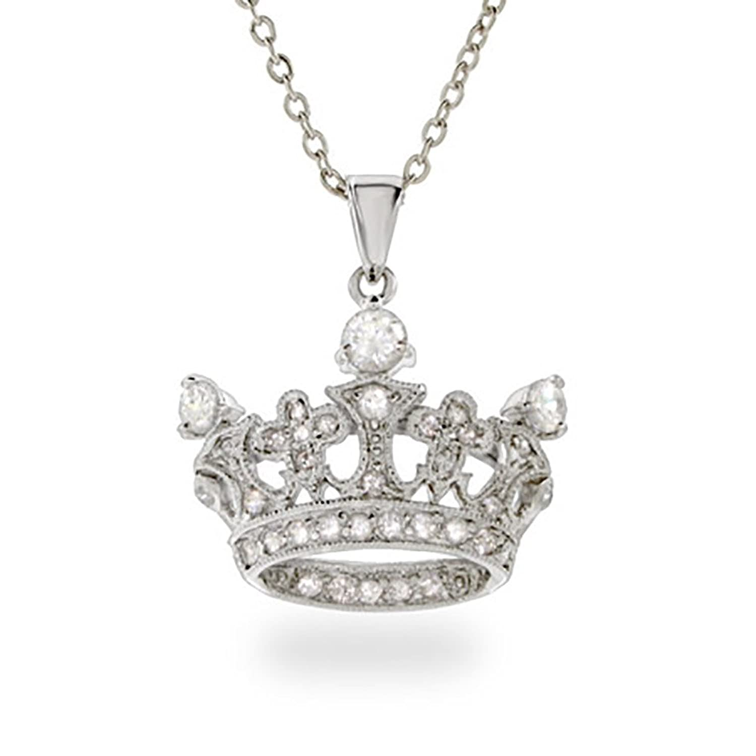 necklace soho silver crown charm necklaces mens lazaro