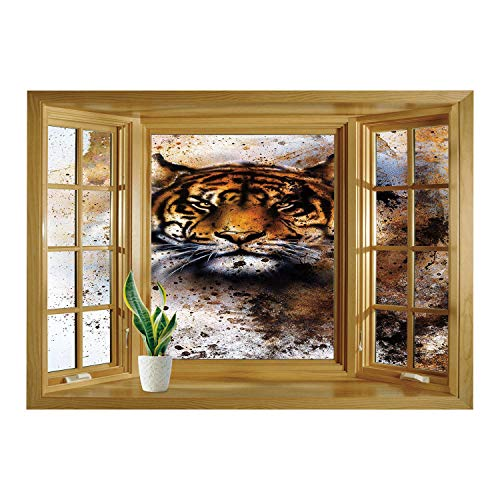 - SCOCICI Wall Sticker,Window Looking Out Into/Tiger,Wild Beast Looking Straight into The Eyes of The Viewer Angry Looking Panthera Tigris Decorative,Multicolor/Wall Sticker Mural