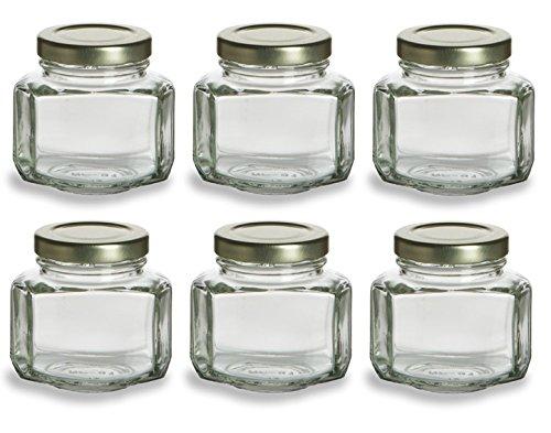 Nakpunar 6 pcs, 3.75 oz Mini Oval Hexagon Glass Jars for Jam, Honey, Wedding Favors, Shower Favors, Baby Foods, DIY Magnetic Spice Jars