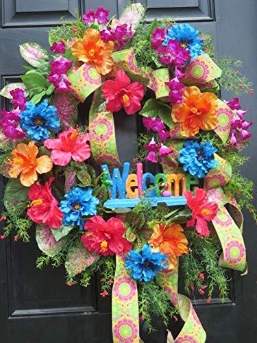 Tropical Summer Wreath, Summer Door Wreath, Summer Wreath for Front Door, Front Door Wreaths, Door Wreath, Summer Wreaths for Door, Welcome Sign