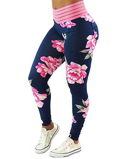 d1f4e26035ff Womens Floral Printed Leggings Ruched Butt Lifting High Waisted Workout  Sport Yoga Pants at Amazon Women s Clothing store