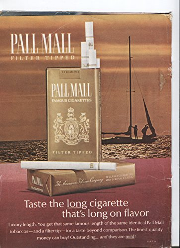 Pall Mall Filter Tipped Famous Cigarettes Taste The Long Cigarette That's Long On Flavor 1966 Vintage Antique - Fair Stores Mall Vintage